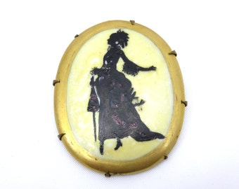 Silhouette Cameo Brooch - Victorian Lady Porcelain Jewelry - Painted Profile Black White