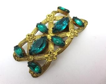 Emerald Rhinestone Dress Clip