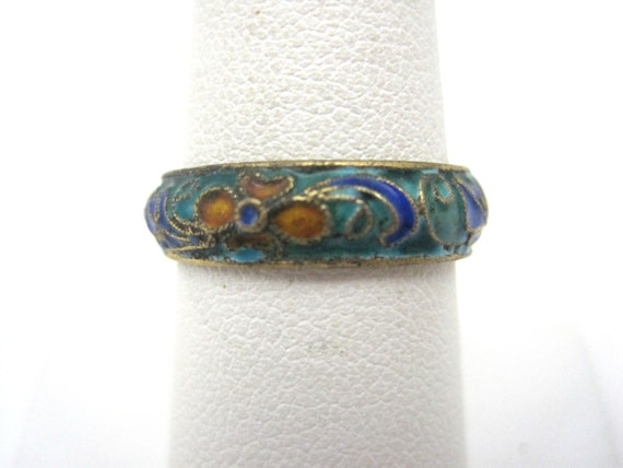 Enamel Ring - Blue Enamel Cloisonne Jewelry
