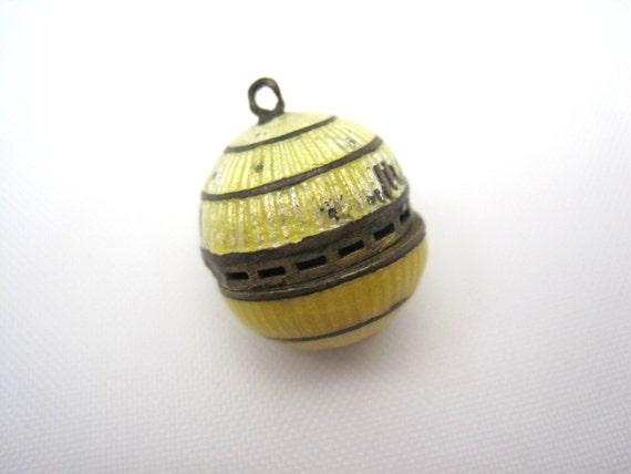 Guilloche Vinaigrette - Yellow Enamel Perfume Charm Pendant Victorian