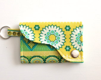 Tri-fold Credit Card / Business Card Holder/ Key Fob made w/ Designer fabric Banded Bliss