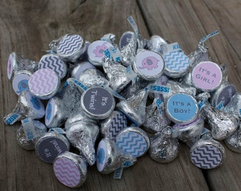 88 Hershey Kiss Labels  - Stickers for Candy Kisses - Boy Girl Twins Baby Shower Pink and Blue Elephants