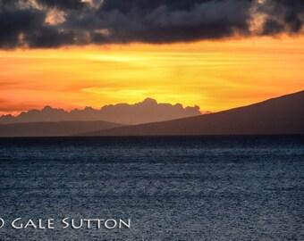 Sunset, Seascape, Hawaii, Maui, Beach Sunset, Fine Art Photo, Metallic Paper, Home Decor, Oranges, Clouds, Ocean, Office Decor, Minimalist