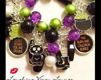 Halloween Jewelry - Witch Jewelry - Halloween Bracelet - Halloween Necklace - Witch Bracelet Toil And Trouble Charm Bracelet Witch Necklace