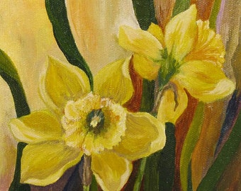 Contemporary Impressionistic DAFFODILS Acrylic Painting on Etsy