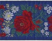 Czech Republic Woven Folkloric Jacquard Fancy Floral Trim 3 7/8 Inch Wide 1 Yard  CFT 012B