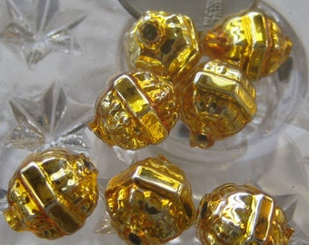 Mercury Glass Beads 7 Fancy Christmas Garland Gold Beads Handmade In Czech Republic Style 034 G