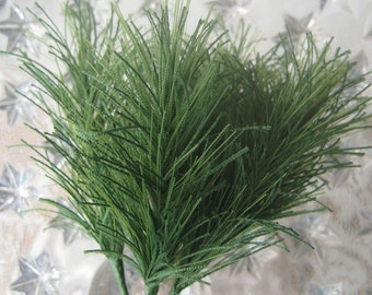 6 Fabric Pine Sprigs From Austria Millinery Leaves For Christmas Crafting
