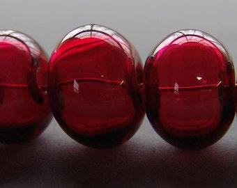 Cranberry Handmade Hollow Lampwork 5 Bead Set