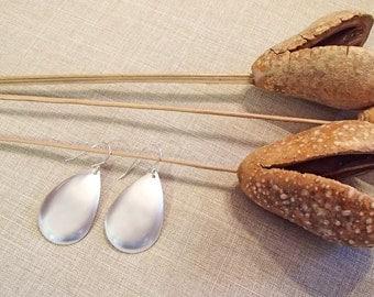 Matte Silver Teardrop Earrings