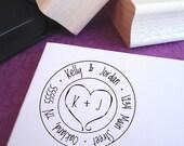 Carved Heart Monogram Address Stamp