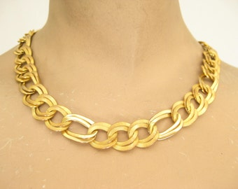 Vintage 90s Gold Tone Chunky Choker Necklace