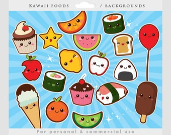 Cute food clipart - kawaii clip art, Japanese cute, sushi, fruit, cupcake, onigiri, starburst backgrounds, for personal and commercial use