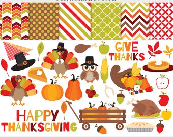 Thanksgiving clipart - thanks giving clip art turkey fall pilgrims pumpkin pie leaves apples corn horn plenty for personal commercial use