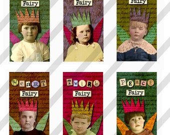 Digital Collage Sheet Domino Word Fairy Images 1x2 inch  (Sheet no.FS1202) Instant Download
