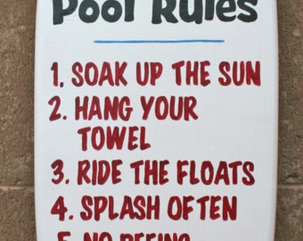 Mini surfboard wall art, Pool Rules Sign, custom, personalized, pool and beach decor