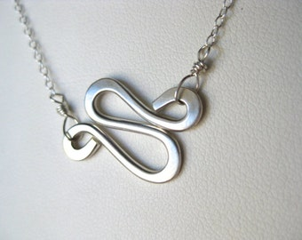 Squiggle Charm Necklace, Gold Charm Necklace, Silver Charm Necklace, Silver Squiggle Necklace, Gold Squiggle Necklace, Layering Necklace
