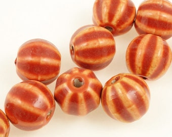 10 Pumpkin Beads - 13mm x 12mm Red Orange Pumpkin Beads Ceramic - Fall Autumn Halloween Thanksgiving Supplies