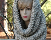 Oatmeal Knit Infinity Scarf Cowl Hood, Oversized Chunky Circle Scarf, Women's Winter Scarf, Men's Scarf Cowl, Knitted Scarf, Fall Accessory