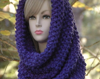 Cobalt Blue Hooded Cowl, Knit Infinity Scarf Cowl Hood, Knit Scarf, Circle Scarf, Women Scarf, Winter Scarf, Chunky Scarf,Oversized Cowl