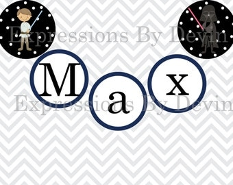 DIY Printable Galaxy Wars Inspired Personalized Name Banner 4 inch circle DIGITAL PDF Banner