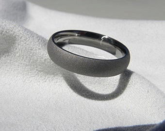 Titanium Ring, Sandblasted Gray, Wedding Band