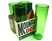 Four Pack Set of Recycled Mt.Dew Blank Soda Bottle Drinking Glass Cups / Green with Envy