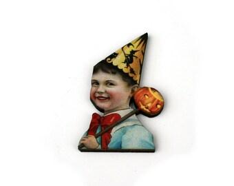 Halloween Brooch, Witch Brooch, Pumpkin, Halloween Badge