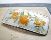 Orange blossoms / champleve enamel / sterling silver / Charles M. Robbins hallmark