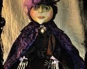Morada Bruja,  Purple Witch , Art Doll, Gourd Head
