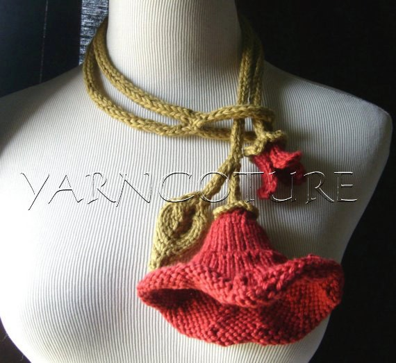 Knit Lariat / Bloom - In Red / All Weather - Cool Absorbent Cotton Necklace/Artwear