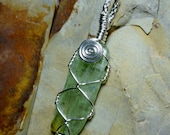 Green Kyanite Translucent Stone Sterling Silver Wire Pendant