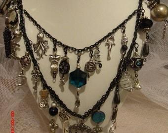 Victorian Romance Ebony and Blue Charm Necklace