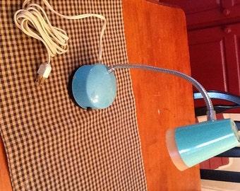 1960s Vintage Small Gooseneck Lamp Turquoise Blue Green