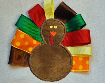 Thanksgiving turkey with ribbon feathers with name monogram available