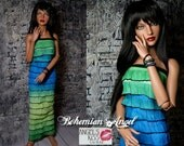 OOAK Green / Spring Green / Turquoise Ombre dress and matching wrap ombre bracelet  for YID and SID Iplehouse bjds