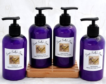 Shea Butter Lotion 8oz, Organic Oils, Natural Skincare, Lavender, Vanilla, Passion Fruit