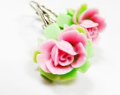 Pink Green Earrings Leverback Flower Earrings with a Pink Lily on a Green leaf Two Tone Water Lily Flower Closed Earrings