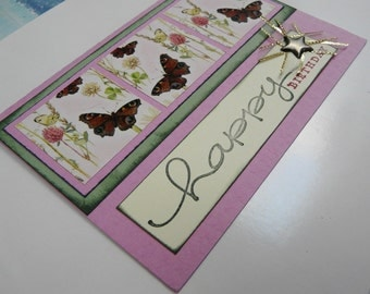 Birthday Card Butterfly Squares Soft Green and Pink Happy Birthday Greeting Card with envelope - OOAK