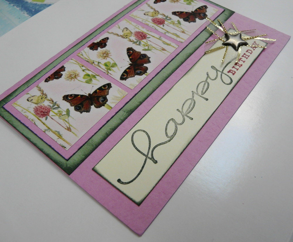Happy Birthday Card Butterfly Squares Soft Green and Pink Happy Birthday Greeting Card with envelope - OOAK
