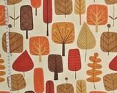 Scandinavian tree fabric retro fabric orange fall fabric autumn fabric fall leaf leaves  mid-century  Free Shipping 1 yards
