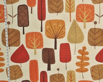 Scandinavian tree fabric retro orange fall autumn leaf leaves  mid-century  home decorating material cotton BTY