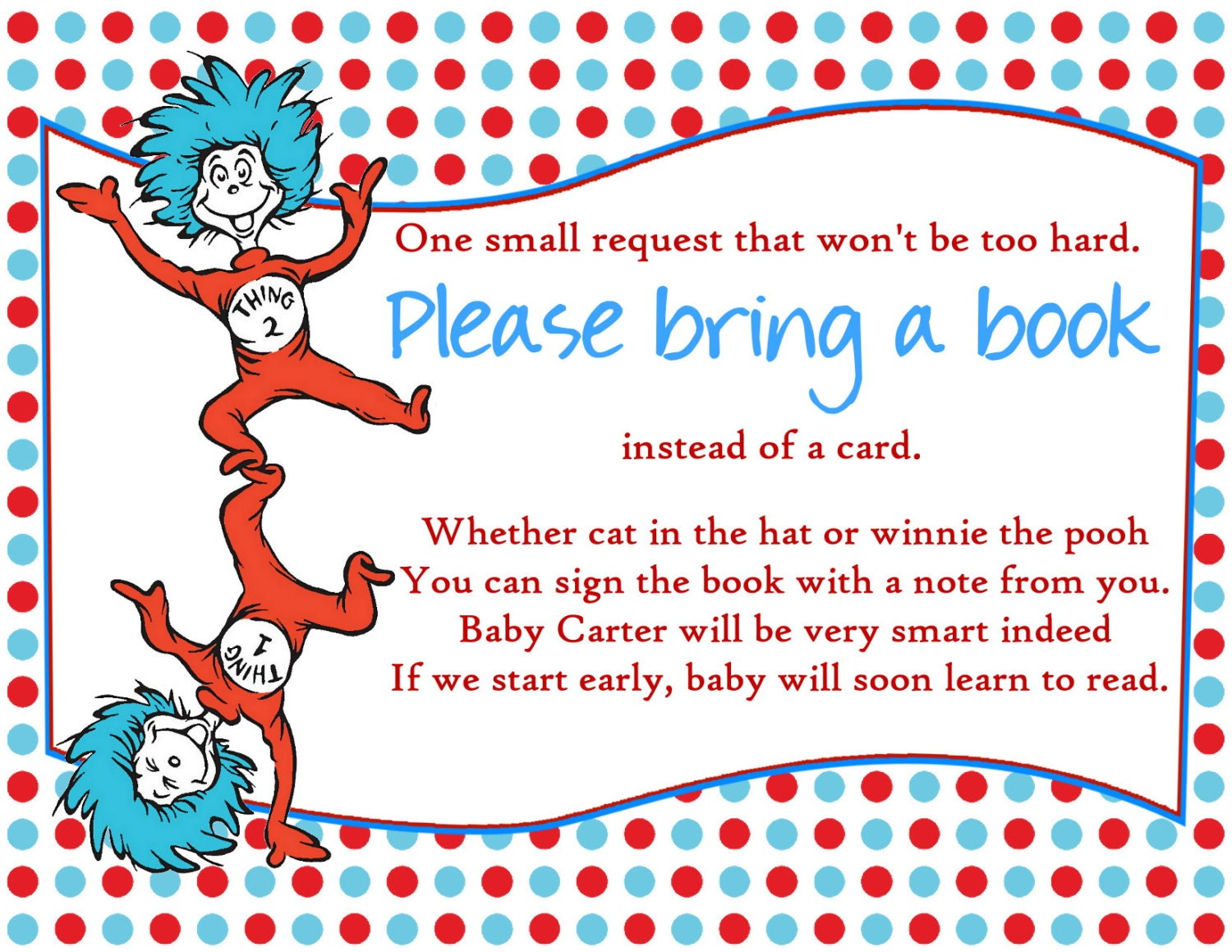 Dr Seuss Baby Shower Bring a Book Insert by Createphotocards4u