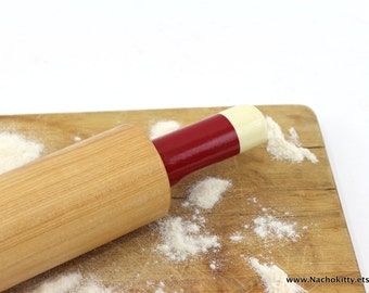 1930s Red & White Wood Rolling Pin Vintage Kitchen Decor