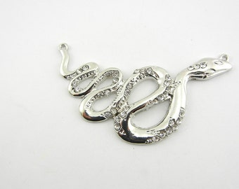 Double Link Silver-tone Curled Snake with Rhinestone