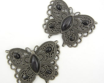 2 Hematite Filigree Butterfly Pendants with Black Acrylic Cabochons