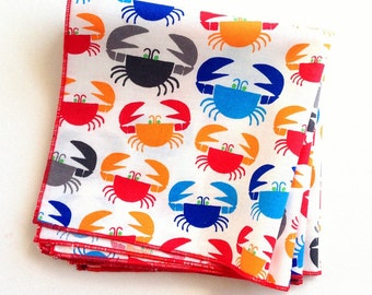 Organic Cotton Crabby Napkins, Eco Friendly Cloth Napkins, Reusable - Red, Blue, Orange and Gray Crabs, Set of Four