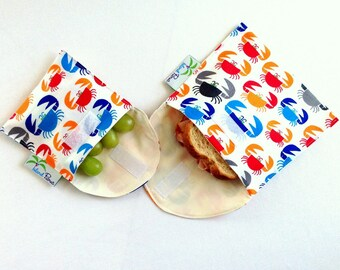 Crabby Sandwich and Snack Bags, Eco Friendly Organic Cotton, Red, Blue, Orange and Gray Crabs - Set of 2 - Back to School
