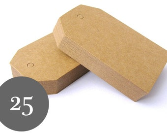 25 Kraft Tags - Small Luggage Tags - Blank Gift Tags - Parcel Tags - Party Favor Tags - Wedding Tags - Thank You Tags - Christmas Gift Tags