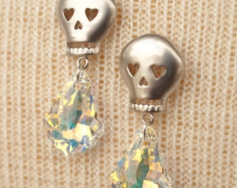 Silver Skull Earrings with Crystal AB Swarovski Baroque Crystals